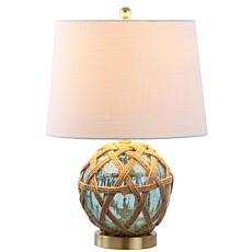 "JONATHAN Y Brown Aqua Andrews 21.5"" Glass Rope Table Lamp"