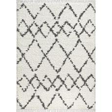 Jonathan Y Mercer Shag Plush Tassel Geometric Trellis Cream Area Rug