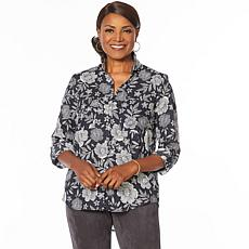 Jones NY Linen-Blend Printed Button-Down Shirt - Missy
