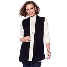 Jones NY Wool and Knit Drape-Front Vest - Plus