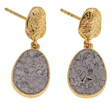Joya Crushed Diamond Art Deco Oval Goldtone Drop Earrings