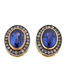 Joya Goldtone Sterling Silver 2.41ctw Kyanite and Diamond Earrings