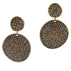 Joya Goldtone Sterling Silver Gemstone Disc Drop Earrings
