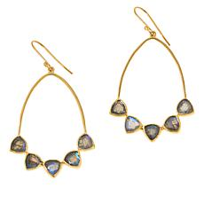 Joya Goldtone Sterling Silver Labradorite Multi-Stone Drop Earrings