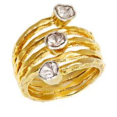 Joya Goldtone Sterling Silver Polki Diamond 3-Stone Wrap Ring