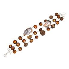 Joyce Williams Brown Cultured Freshwater Pearl 3-Row Bracelet