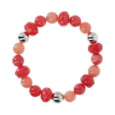 "Joyelle Sterling Silver Strawberry Jade Quartz 8"" Beaded Bracelet"