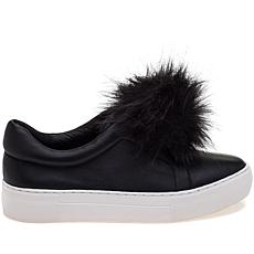 J/Slides NYC Aurora Leather Slip-On with Pom-Pom