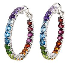 "Judith Ripka 11ctw Multigem Rainbow Inside/Outside 1-1/2"" Hoops"