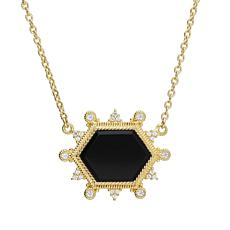 Judith Ripka 14K Gold-Clad Black Onyx and Diamonique® Necklace