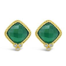 Judith Ripka 14K Gold-Clad Diamonique® and Chalcedony Stud Earrings