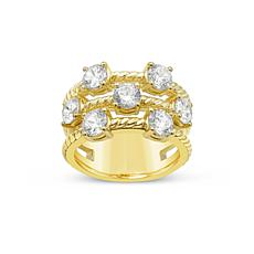 Judith Ripka 14K Gold-Clad Diamonique® Openwork Triple-Band Ring