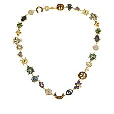"Judith Ripka 18"" Gemstone and Diamonique® Talisman Station Necklace"