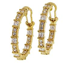 Judith Ripka 5.37ctw Diamonique® Inside/Outside Hoop Earrings