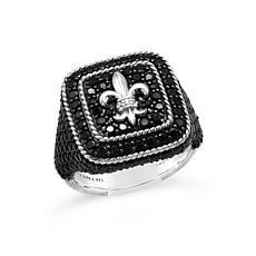 Judith Ripka Black Spinel and Diamonique® Fleur-de-Lis Ring