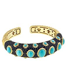 Judith Ripka Black Spinel and Turquoise Hinged Cuff