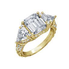 Judith Ripka Diamonique® Emerald- and Trillion-Cut 3-Stone Ring