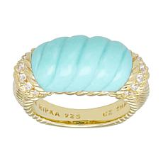 Judith Ripka Gold-Clad Carved Turquoise and Diamonique® Ring