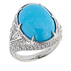 Judith Ripka Oval Turquoise and CZ-Accent Cocktail Ring