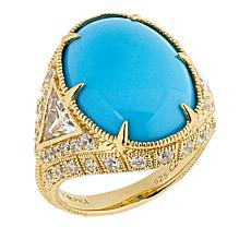 Judith Ripka Oval Turquoise and Diamonique® Cocktail Ring