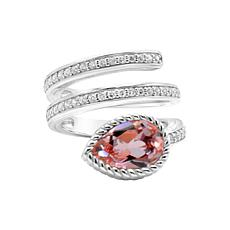 Judith Ripka Simulated Morganite and Diamonique® Wrap-Around Ring