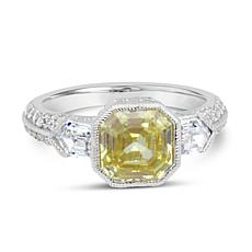 Judith Ripka Sterling Silver Asscher-Cut Canary Diamonique® Ring