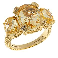 Judith Ripka Sterling Silver Diamonique® 3-Stone Ring