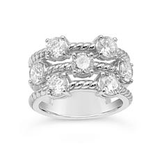 Judith Ripka Sterling Silver Diamonique® Openwork Triple-Band Ring
