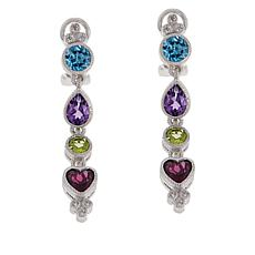 Judith Ripka Sterling Silver Multi-Gemstone Linear Drop Earrings
