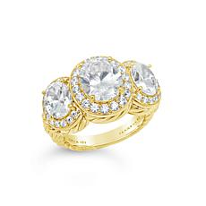 Judith Ripka Sterling Silver or 14K Gold-Clad Diamonique® 3-Stone Ring