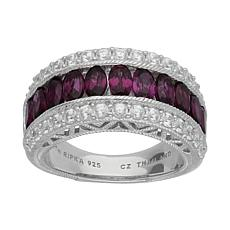 Judith Ripka Sterling Silver Oval Gemstone Diamonique® Band Ring