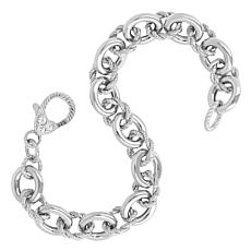 Judith Ripka Verona Sterling Silver Rope and Polished Link Bracelet