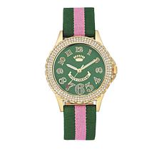 Juicy Couture Goldtone Dial Pink and Green Strap Watch