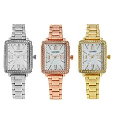Kessaris Set of 3 Crystal-Accented Mother-of-Pearl Dial Watches