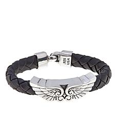 King Baby Braided Leather  Double Wing Bracelet