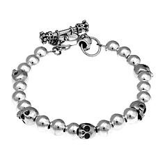 King Baby Sterling Silver Beaded Skull Toggle Bracelet