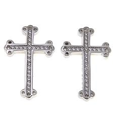 King Baby Sterling Silver CZ Cross Stud Earrings