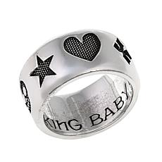 King Baby Sterling Silver Men's Motif Band Ring