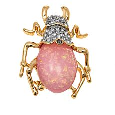 "KJL by Kenneth Jay Lane ""Egyptian Beetle"" Pink Opal-Color Brooch"