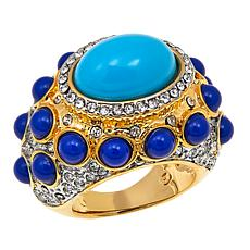 "KJL by Kenneth Jay Lane ""High Drama"" Blue Cabochon East/West Ring"