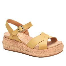Korks Kalie Cork Wedge Leather Sandal
