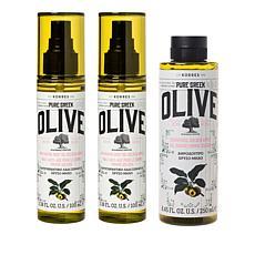 Korres 3pc Olive Oil Golden Apple Anti-Aging Body Oil & Shower Gel Set