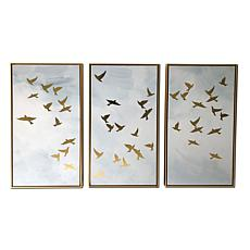"Kroll Creations Golden Birds Triptych 48"" x 30"" Floating Canvas Art"