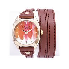 "La Mer Goldtone ""Marble"" Faux Leather Wrap Watch"