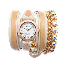 La Mer St. Tropez 2-Tone Chain and Leather Wrap Watch