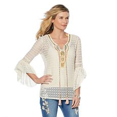 LaBellum by Hillary Scott Bell-Sleeve Embellished Top