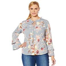 LaBellum by Hillary Scott Ruffled Sleeve Floral Top