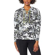 Laila Ali Printed French Terry Knit Lace-Up Hoodie