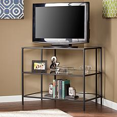 Lamar Metal/Glass Corner-Optional TV Stand - Black
