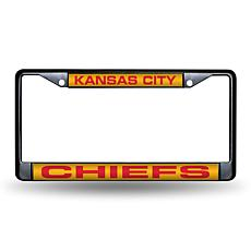 Laser-Engraved Black License Plate - Kansas City Chiefs
